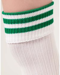 ASOS Collection | White Asos Green Stripe Sport Over The Knee Sock | Lyst