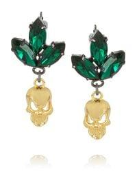 Mawi - Green Goldplated Swarovski Crystal Skull Earrings - Lyst