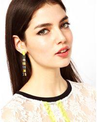 ASOS - Yellow Vine Baguette Earring - Lyst