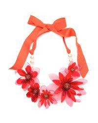 Lanvin - Orange Plastic Flower Necklace - Lyst
