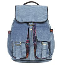Topshop | Blue Aztec Acid Wash Backpack | Lyst