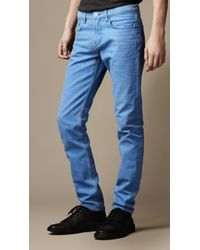 Burberry | Blue Shoreditch Coated Color Skinny Fit Jeans for Men | Lyst