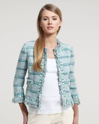 Tory Burch | Blue Marion Ribbon Tweed Jacket | Lyst