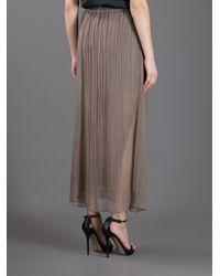 Brunello Cucinelli - Brown Pleated Semi Sheer Skirt - Lyst