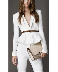 Burberry | White Fitted Peplum Detail Jacket | Lyst