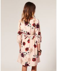 ASOS Collection - Multicolor Asos Maternity Printed Floral Belted Back Dress - Lyst