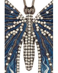 Valentino | Blue Rhodiumplated Swarovski Crystal Butterfly Brooch | Lyst