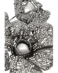 Valentino - Metallic Pewtertone Crystal Brooch - Lyst