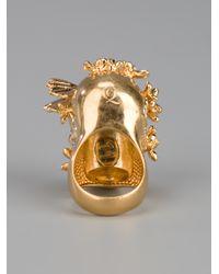 Alexander McQueen - Metallic Skull Ring - Lyst