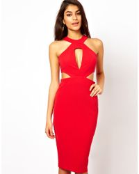 ASOS - Red Midi Dress with Cut Out Side - Lyst