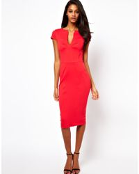 73533f9787 Lyst - ASOS Pencil Dress with Seamed Bust in Red