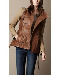 Burberry Brit - Brown Short Leather Funnel Neck Trench Coat - Lyst