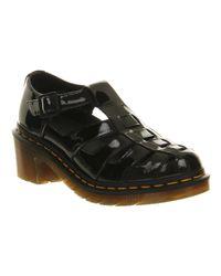Dr. Martens Elanor 7 Bar Sandal Black Patent