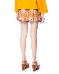 Zara | Orange Silk Shorts with Printed Jacquard Pattern | Lyst