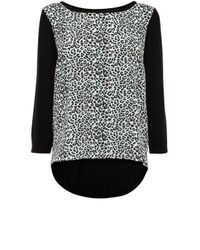 Oasis | Black Animal Woven Mix Jumper | Lyst