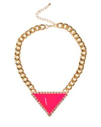 ASOS - Pink Curb Chain Triangle Necklace - Lyst