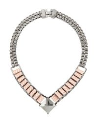 TOPSHOP - Metallic Box Chain Leather Necklace By Cjg - Lyst