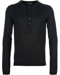 Dolce & Gabbana | Black Serefina Henley Top for Men | Lyst