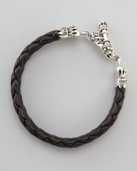 King Baby Studio | Gray Crown Toggle Leather Bracelet for Men | Lyst