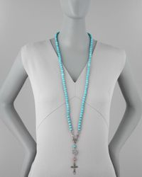 Love Heals | Blue Long Beaded Cross Necklace | Lyst