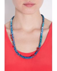 Alyssa Norton - Blue Braided Silk With Crystals Necklace - Lyst