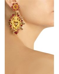 Dolce & Gabbana | Metallic Goldtone Swarovski Crystal Clip Earrings | Lyst
