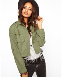 ASOS - Natural Cropped Utility Jacket - Lyst