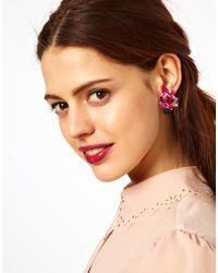 ASOS | Pink Stone Bouquet Stud Earrings | Lyst