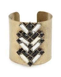 BaubleBar | Metallic Gold Deco Chev Cuff | Lyst