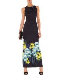 Karen Millen | Multicolor Placed Iris Print Dress | Lyst