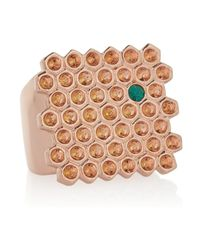 Mawi - Pink 18karat Rose Goldplated Swarovski Crystal Ring - Lyst