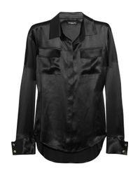 Balmain | Black Silksatin Shirt | Lyst