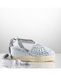 Ralph Lauren Collection | Blue Umika Crochet Espadrille | Lyst