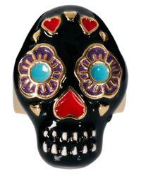 River Island - Metallic Oversized Tribal Skull Ring - Lyst