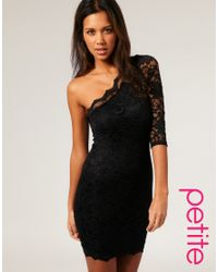 ASOS Collection - Black Asos Petite Lace One Sleeve Bodycon Dress - Lyst