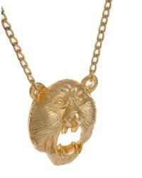 ASOS | Metallic Roaring Bear Head Necklace for Men | Lyst