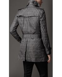 Burberry | Gray Mid-length Herringbone Trench Coat with Leather Trim for Men | Lyst
