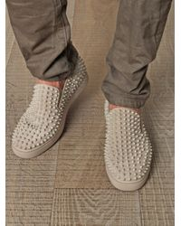 Christian Louboutin | Beige Rollerboat Spiked Slipon Trainers for Men | Lyst