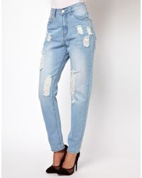 Glamorous - Blue Boyfriend Jeans in Light Wash Distressed Denim - Lyst