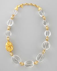 Jose & Maria Barrera | Metallic Rock Crystal Bead Scroll Necklace | Lyst
