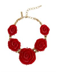 Oscar de la Renta | Red Resin Flower Necklace | Lyst