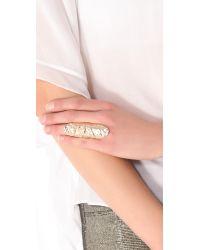 Rose Pierre | Metallic Banyan Tree Bark Long Finger Ring | Lyst