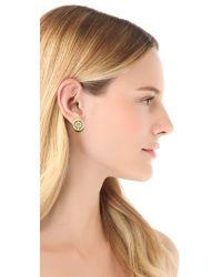 Tory Burch - Green Deco Logo Stud Earrings - Lyst
