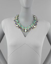 Lele Sadoughi - Lotus Bib Necklace Aegean Blue - Lyst