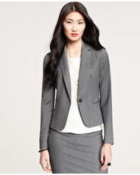 Ann Taylor - Gray Dominique One Button Jacket - Lyst