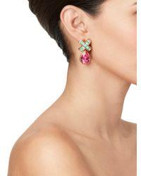 Oscar de la Renta - Pink Swarovski Pave X Drop Pierced Earring - Lyst