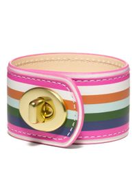 COACH | Multicolor Legacy Stripe Leather Turnlock Bracelet | Lyst