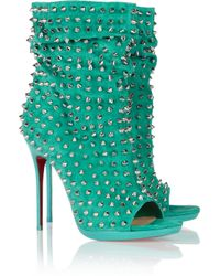 Christian Louboutin | Blue Guerilla 120 Studded Suede Ankle Boots | Lyst