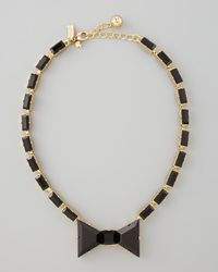 Kate Spade | Black Crystal Bow Necklace | Lyst