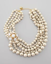 Kate Spade | Multicolor Multistrand Pearl Statement Necklace | Lyst